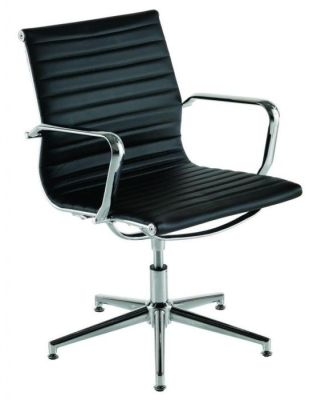Aria Designer Swivel Conference Chair In Ribbed Black Leather