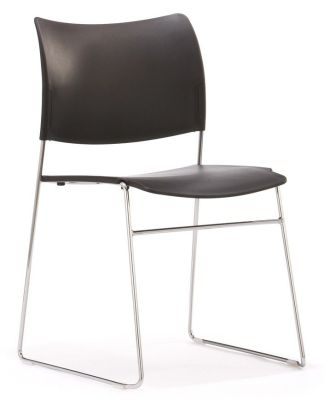 Elios Multi - Use Black Meeting Chair With Designer Chrome Wire Frame