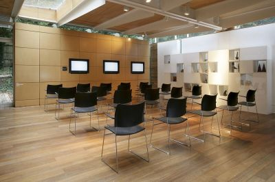Modern Conference Hall With Elios Black Stackable Seating