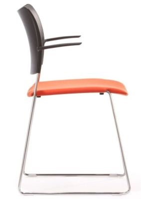 Elios Conference Chair With Black Polypropylene Back And Orange Upholstered Seat
