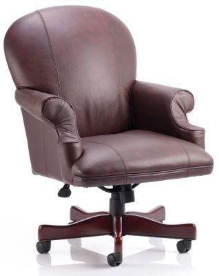 Edinburght Luxury Executive Chair In Burgundy Soft Feel Leather And Mahognay Wooden Swivel Base