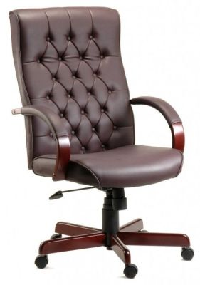Kenilworth Traditional Directors Chair In Brown Upholstery And Mahogany Wooden Base And Arms