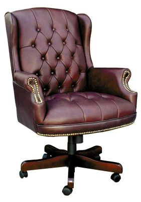 Chairman Traditional Executive Chair In Antique Burgandy With Nail Trim Design And Mahogany Base