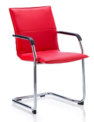 Denton Leather Conference Chair In Red Leather