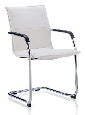 Denton White Leather Conference Chair