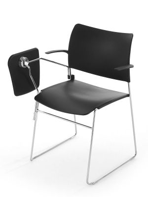 Elios Black Meeting Chair With Folded Down Writing Tablet And Chrome Frame