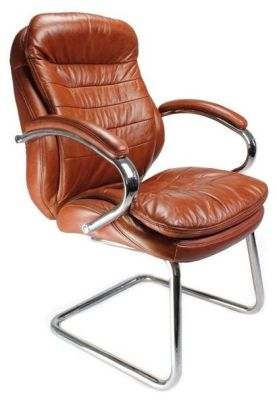 Randall Executive Cantilever Visitor Chair In Tan Leather With Matching Armrests