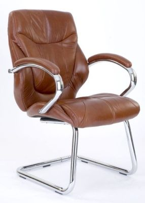 Banton Luxury Tan Leather Cantilever Boardroom Chair With Chrome Frame