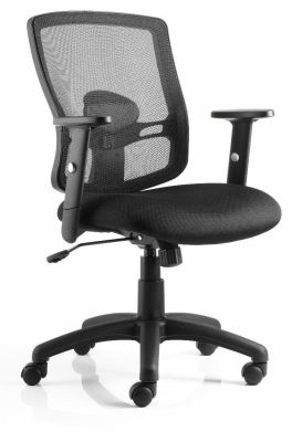 Cotswold Value Swivel Chair With Black Mesh Back And Black Upholstered Seat