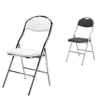 200d Sd Delux Folding Chairs White With Chrome Surround And Black With Chrome Surround