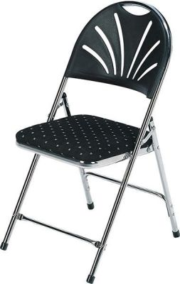 200 DL Chair With Polka Dot Black And White Design Seat And Ray Design On Plastic Back With Chrome Frame