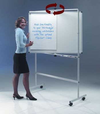 Write-angle Vertically Revolving Dry Wipe White Board On Stand