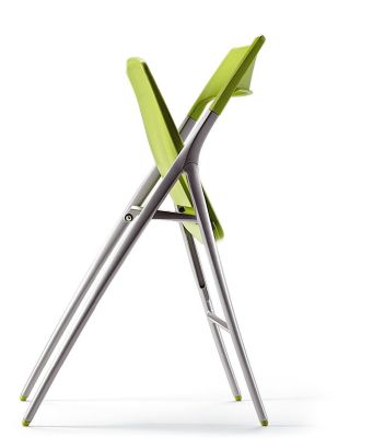 Plek Green Designer Folding Chair In Partialy Folded Position