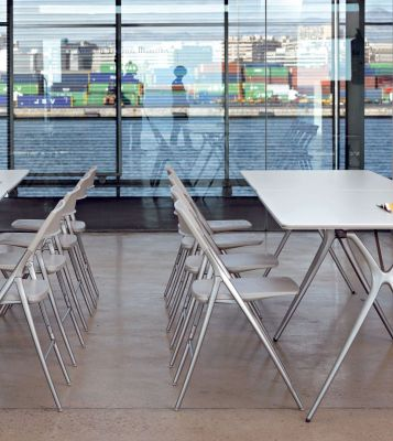 Lunch Room Using Plek Designer Folding Chairs In White