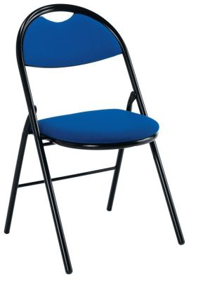 Sienna Folding Meeting Chair In Blue Fabric With Black Frame
