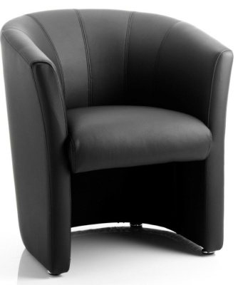 Neon Black Leather Tub Chair