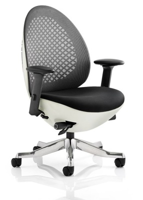 Ovum Designer Chair With Charcoal Mesh And White Frame