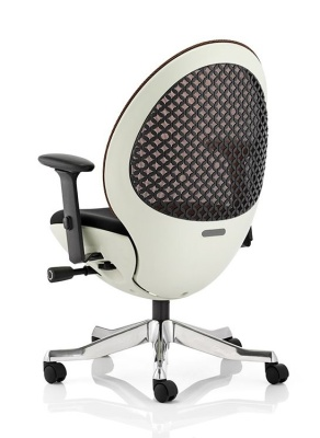 Ovum Designer Mesh Chair With A White Frame Rear View