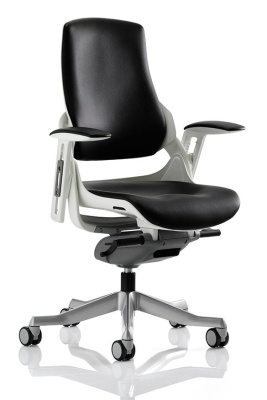 Zodiac Black Leather Task Chair Without Headrest