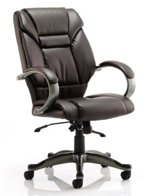 Galway Director Brown Leather Chair With Gun Metal Base