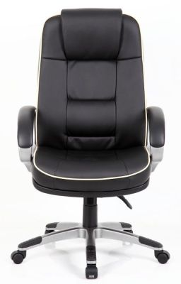 Drewster Chairmans Office Swivel Chair In Soft Feel Black Leather With Piping Detail