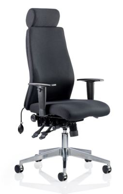 Orion Ergonomic Chair In Black Fabric With Headrest