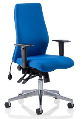 Orion Blue Fabric Ergonomic Chair Without Headrest