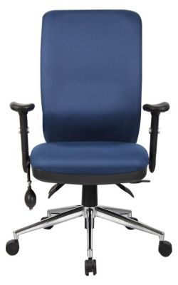 Chiro High Back Ergonomic Task Chair With Lumbar Pump In Blue Upholstery