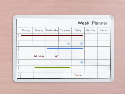 Week Planner Whiteboard With Marked Black Gridlines
