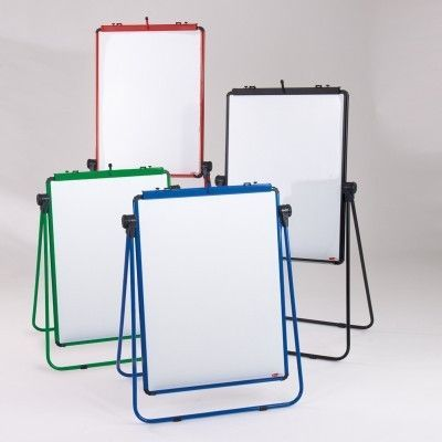 Range Of Two Sided Magnetic Whiteboard-flipchart Easles With Red,blue,green Surrounds And Legs In Different Positions