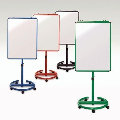 Range Of Mobile Magnetic Dry Wipe Easel's In Green,blue,red And Black On Castor Base