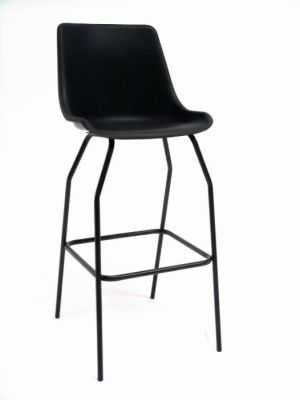 GX Poly Classroom Stool In Black With Foot Rest