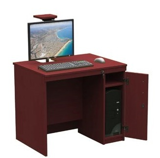 In-desk With Cup Cupboard In Burgundy