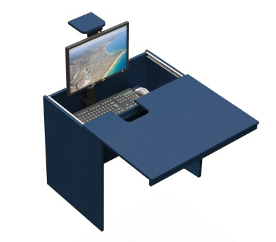 In - Desk In Blue Aerial Shot