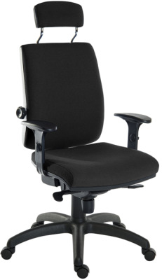 Ergo+ Chair With Headrest In Black Fabric