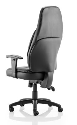 Galaxy Black Leather Ergonomic Chair With An Extra High Back Rear View
