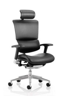 Ergo Black Frame Black Leather With Headrest