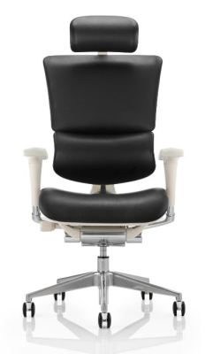 Ergo D Black Leather Chair With A Grey Frame