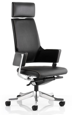 Starlight Black Leather Executive Chair With Headrest