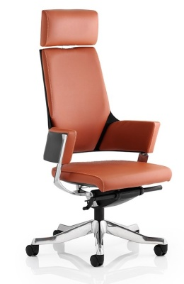 Starlight Executive Task Chair With Headrest In Tan Leather