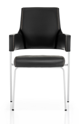 Starlight Black Leather Conference Chair Front Shot