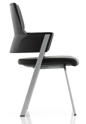 Starlight Black Leather Conference Chair Side