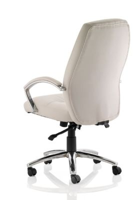 Oaisis White High Back Leather Chair Rear Shot