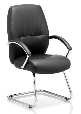 Oasis Black Leather Visitors Chair