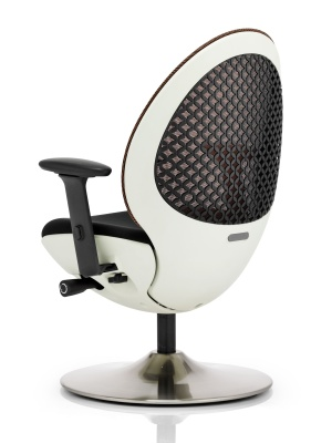 Ovum Mesh Back Designer Chair With A Circular Base And White Frame Rear Angle View