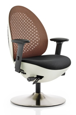 Ovum Mesh Designer Chair With An Orange Mesh Back And White Frame Front Angle View