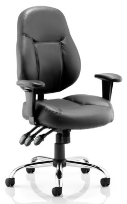 Tempest Black Leather Ergonomic Operator Chair
