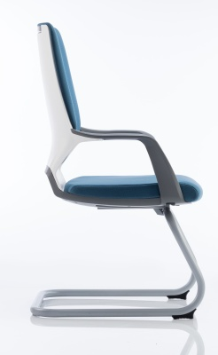 Carbon Visitors Chair Blue Fabric Side View