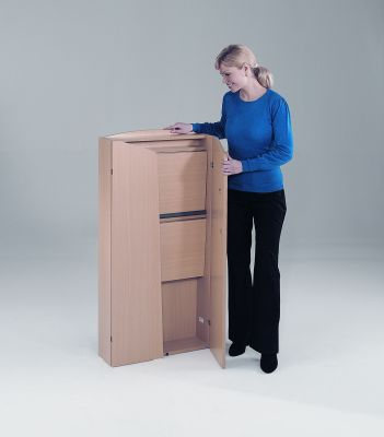 Value Folding Lecturn In Beech Folded Flat For Storage And Mobility