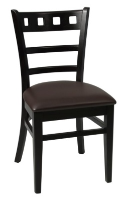 Alphine Dining Chair Wenge Frame Brown Faux Seat